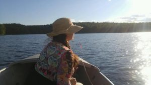 Lisa on boat Damariscotta Lake 2016